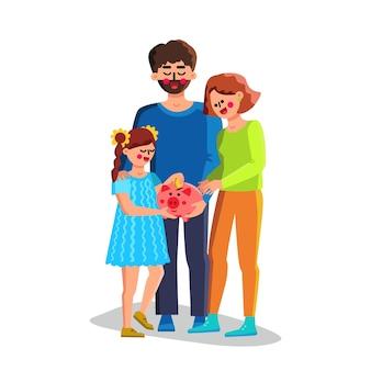 돼지 저금통 벡터에 가족 돈 금융 절약입니다. 행복한 남자 아버지, 여자 어머니와 여자 아이가 안전한 돼지 저금통에 돈을 모으는 것을 저장합니다. 문자 재무 계획 평면 만화 일러스트 레이 션