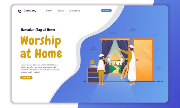 Family moslem worship at home illustration on landing page
