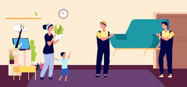 가족은 새 아파트를 이동합니다. 젊은 어머니는 로더와 함께 움직이고 상자에 소모품을 수집합니다. 평면 벡터 행복 한 엄마와 아들 새 아파트. 가족은 새 집에 와서, 아파트 그림의 여자