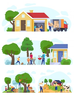 Family moving to countryside house, set of lifestyle scenes vector illustration