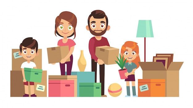 Family moving new home. happy people packing unpacking boxes cardboard package deliver parents kids relocation, flat design
