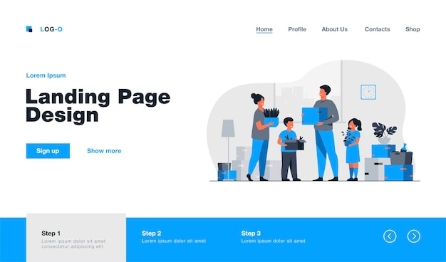 Family moving to new house landing page in flat style