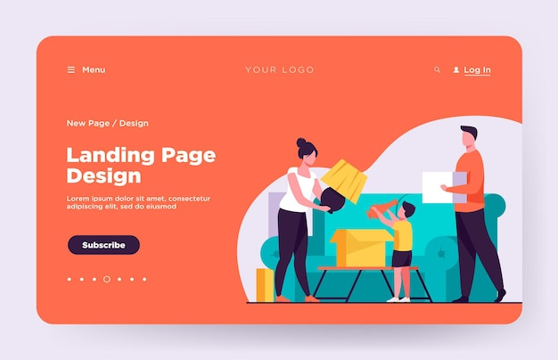 Family moving and packing things landing page