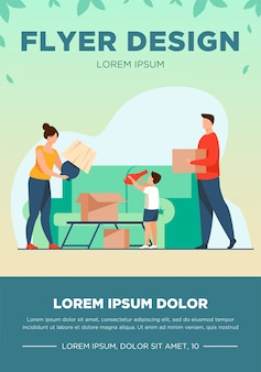 Family moving and packing things. parents, kid, carton boxes flat vector illustration. new home, property buying, mortgage concept for banner, website design or landing web page