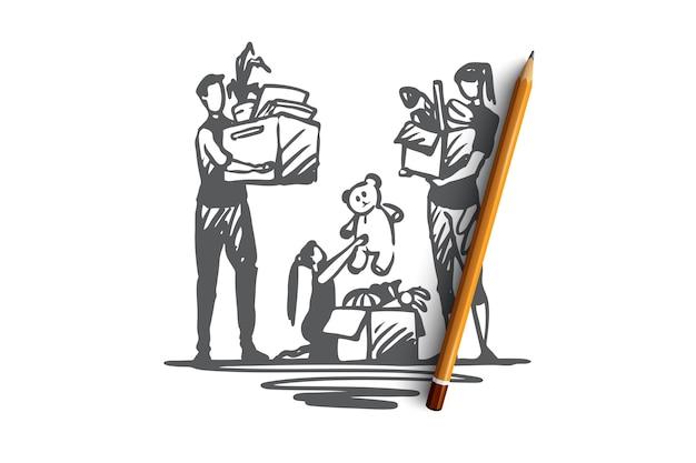 가족 이동, recolation, 평면 함께 개념 변경. 함께 이동하는 부모와 딸 포장 상자. 손으로 그린 스케치 그림