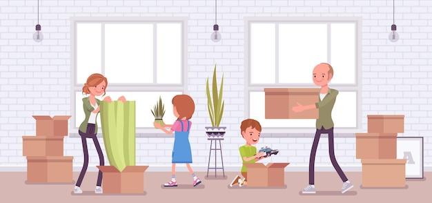 家族が新しいアパートに引っ越す