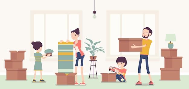 새 아파트로 이사하는 가족