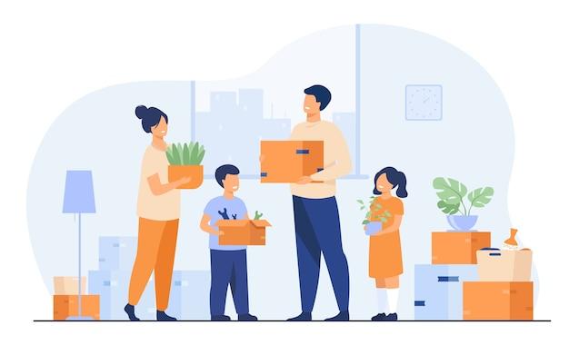 家族が新しい家に引っ越します。幸せな漫画の男、女、男の子、女の子がアパートで箱を運ぶ。新しい家、配達サービスの概念のベクトル図
