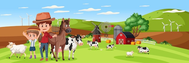 Family in nature farm with farm animal horizontal landscape scene at day time