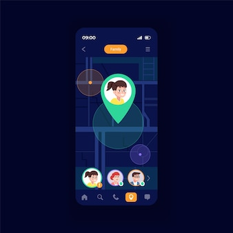 Family navigator smartphone interface vector template. mobile app page design layout. special functionality for finding kids. beautiful smartphone screen. flat ui for application. phone display