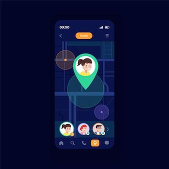 가족 네비게이터 스마트폰 인터페이스 벡터 템플릿입니다. 모바일 앱 페이지 디자인 레이아웃입니다. 아이 찾기를 위한 특별한 기능. 아름다운 스마트폰 화면. 응용 프로그램에 대한 평면 ui. 전화 디스플레이