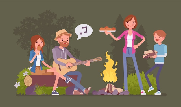 Family near campfire. parents and children camping at night near fire, staying outside, enjoy weekend singing and eating together, recreation adventure time.   style cartoon illustration