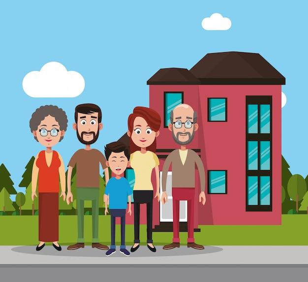 Family near house residential