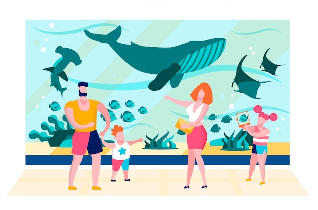 Family near oceanarium aquarium glass flat vector