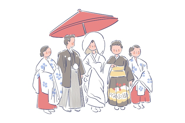 Family and newlyweds wearing japanese weeding clothes