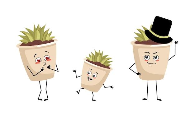즐거운 감정을 가진 냄비 캐릭터의 귀여운 실내 식물 가족은 행복한 눈 팔과 다리를 마주합니다.