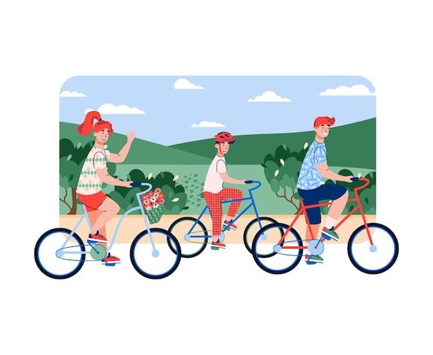 Семья родителей и сына, езда на велосипеде на фоне летнего луга, плоский мультфильм