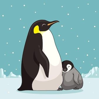 Семья пингвинов в мультяшном стиле