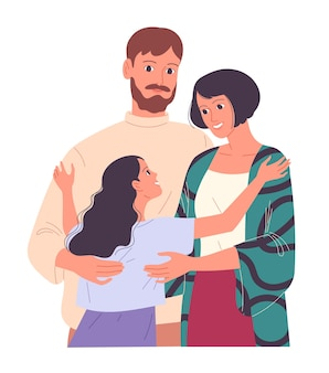 Семья молодых родителей и дочерей обнимаются