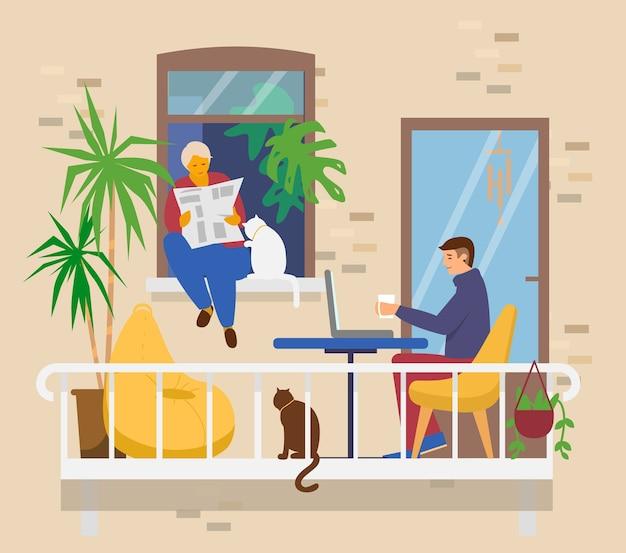 발코니에 가족. 남자는 노트북에서 일하고, 여자는 고양이와 함께 과부 새에 앉아 종이를 읽습니다. 커피 테이블, 식물, 콩 주머니 의자가있는 아늑한 발코니. 가정 활동. 플랫