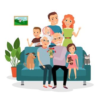 ソファの上の家族。父と母、幼児、息子と娘、猫と犬、祖父と祖母。ベクトルイラスト