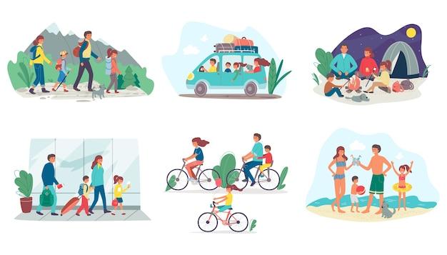 Семья на летних каникулах, путешествующих