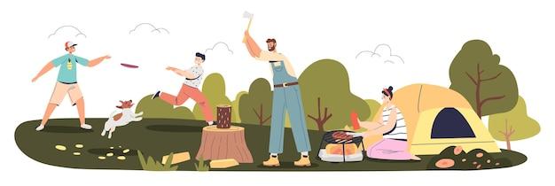 아이들이 개와 노는 아이들과 함께 휴가 캠핑을 하고 숲에서 피크닉을 하는 가족, 캠프 파이어에서 저녁을 요리하는 엄마, 숲을 베고 있는 아빠. 활동적인 레저 여름 컨셉입니다. 만화 평면 벡터 일러스트 레이 션
