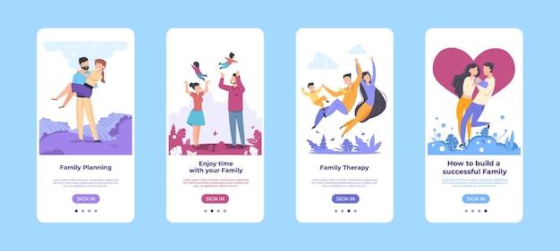 家族のオンボード画面。一緒に時間を過ごす幸せな漫画のキャラクターモバイルアプリケーションテンプレート。