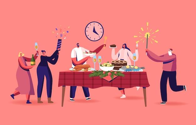 家族や友人のクリスマスディナー、トルコの伝統的な食事と装飾されたモミの木の枝でテーブルでクリスマス休暇を祝う幸せな男性と女性のキャラクター。漫画の人々のベクトル図