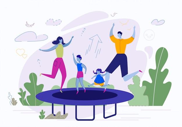 家族の屋外アクティビティ、トランポリンでジャンプ
