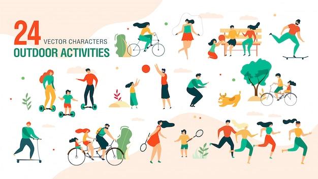 Family outdoor activities vector characters set