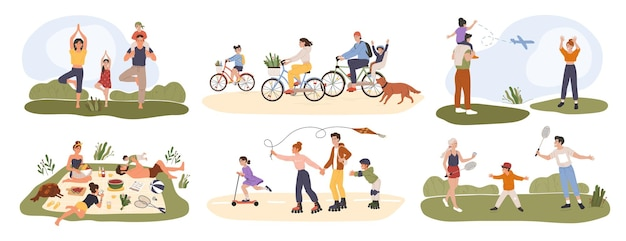 Family outdoor activity parents  children spending time together having picnic doing yoga cycling