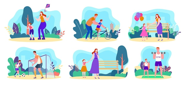 Family outdoor activity set vector illustration cartoon happy man woman character active in park tog...