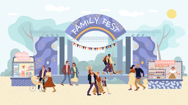 Family outdoor fest activities in amusement park
