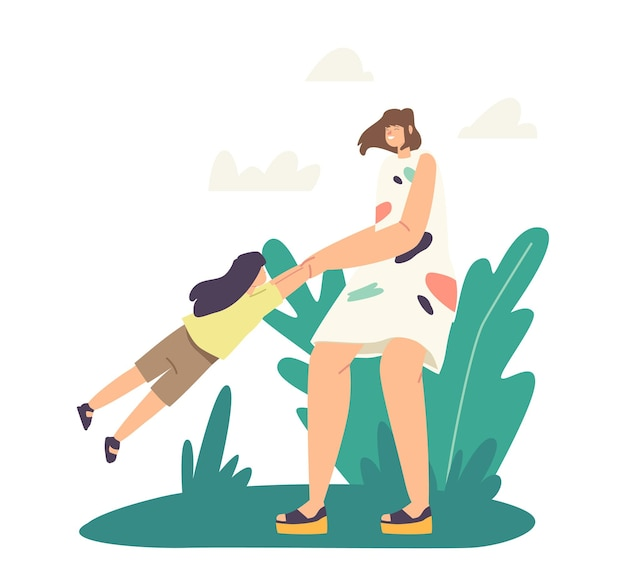 가족 야외 재미, 주말 레저, 게임, 부모 또는 어린 시절 개념. 행복한 어머니 캐릭터 빙글빙글 돌고 회전하는 딸, 엄마가 아이와 놀고 있습니다. 만화 사람들 벡터 일러스트 레이 션