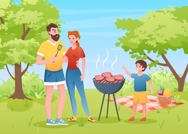 여름 공원에서 가족 야외 바베큐 피크닉.