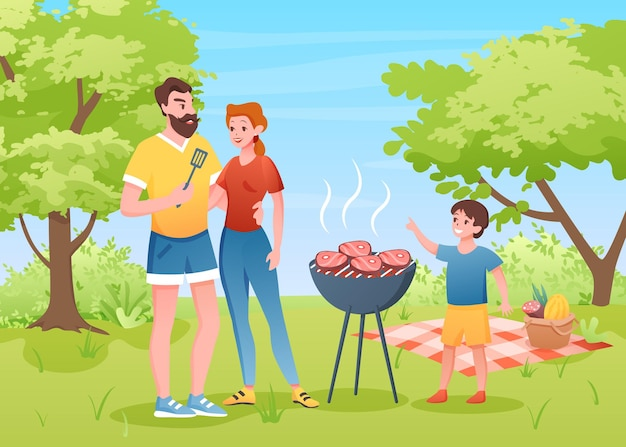 Family outdoors barbecue picnic in summer park.