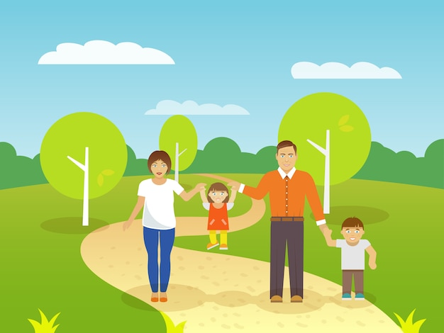 Family outdoors illustration