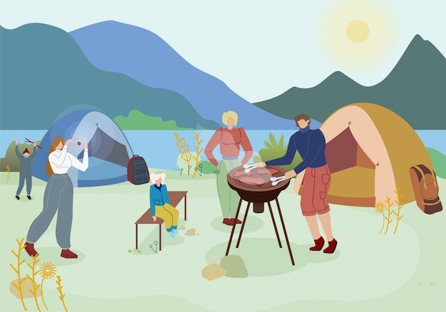 Family outing, camping flat vector illustration
