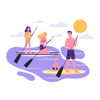 家族のパドル。 supサーフィンアクティビティ。男性、女性、子供たちは屋外でリラックスします。スタイルのイラスト