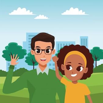 Family parent and children cartoons