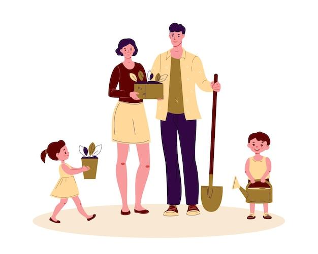 정원 도구를 사용하는 가족 부모와 어린이. 농부 정원사는 식물을 심을 예정입니다.