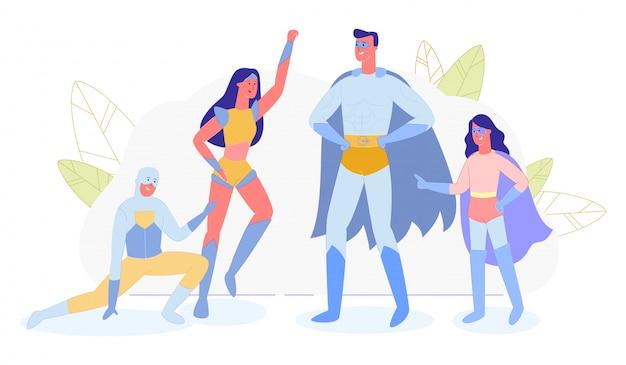 Семья, родители и дети в костюмах супергероев
