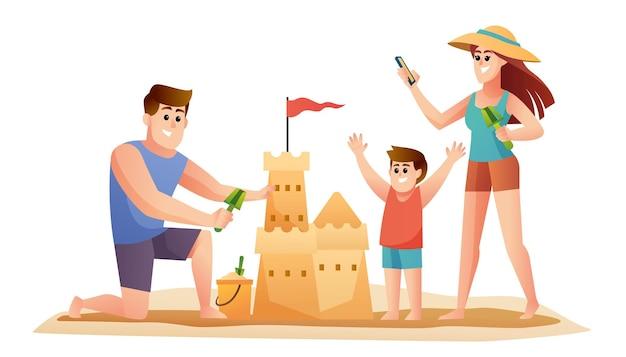 Семья родителей и сын делает иллюстрации шаржа замок из песка