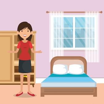 Family parents in bedroom scene