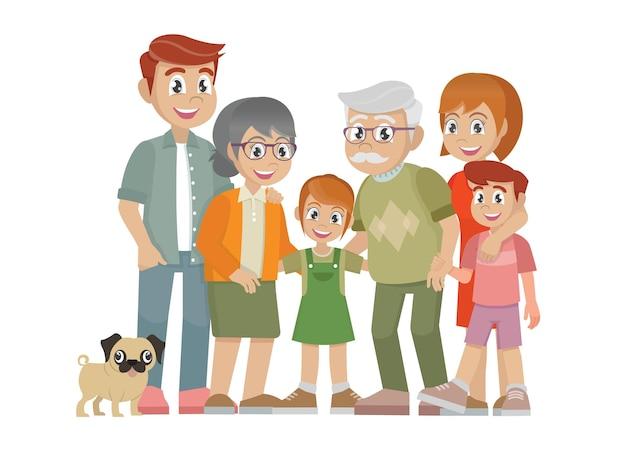 가족 부모 자녀 할머니와 할아버지