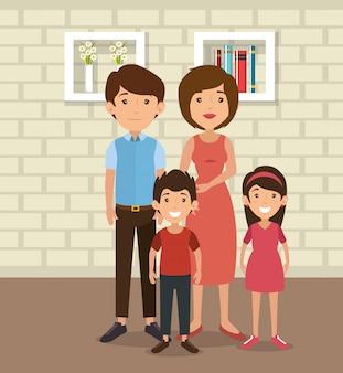 집 장소 장면에서 가족 부모