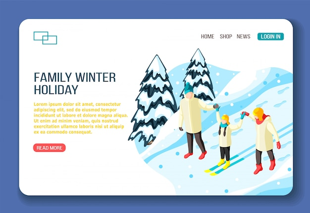 Family parents and kid on ski during walking in winter holidays isometric web landing page