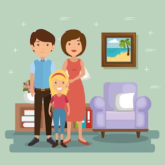 Family parents in living room scene