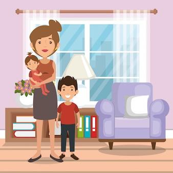Family parents in living room scene